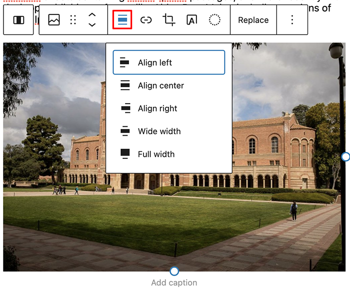 Aligning an image with the WP Image Block