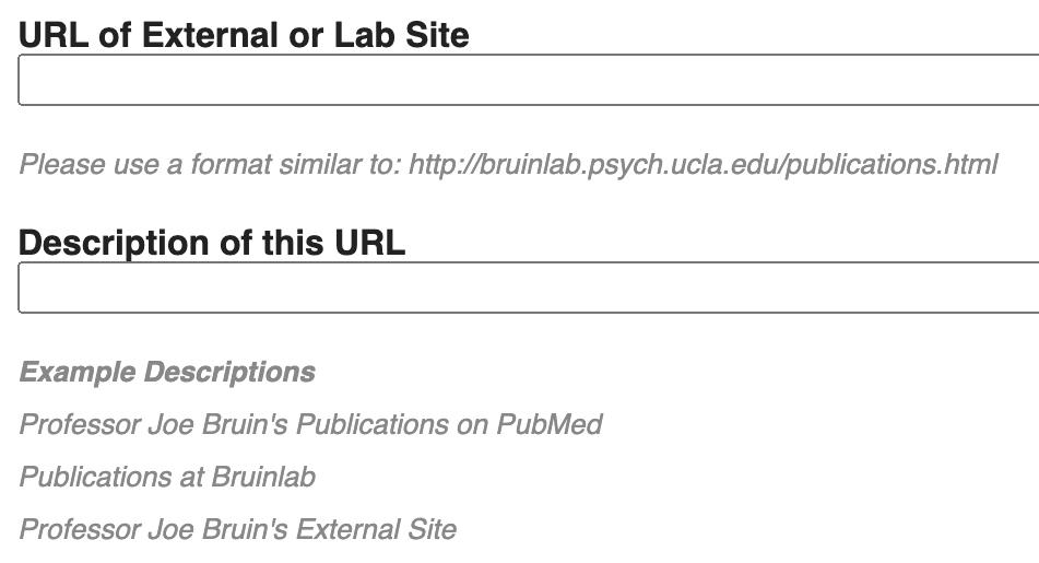URL and description of lab site